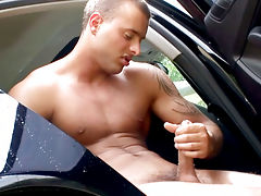 Jason has enough to wash this car and starts wanking his meat
