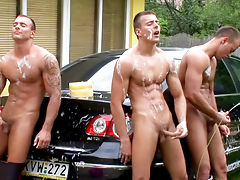 Car wash team work ending in a jerking off session in hd