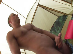 Lonely jason in a tent takes some time to wank his meat off