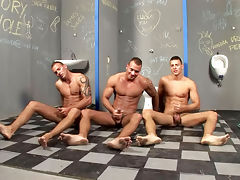 3 horny brothers jerking off side by side in public toilets